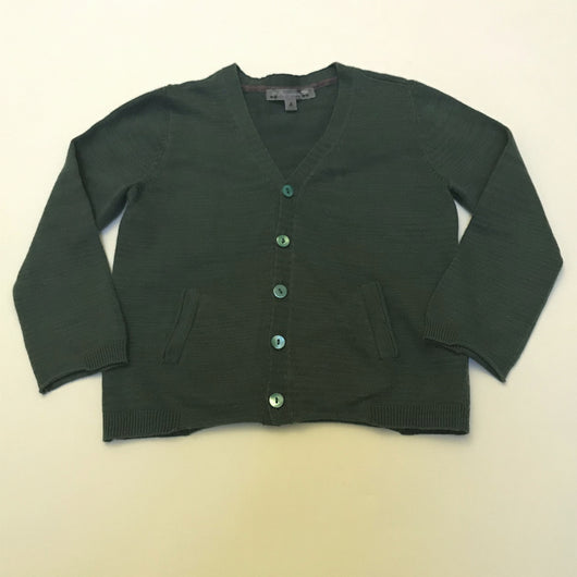 Bonpoint Dark Green Cotton/ Linen Mix Cardigan