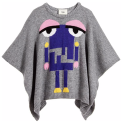 Fendi Grey Wool Poncho With Robot Motif: 6-8 Years