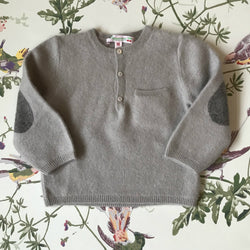 Bonpoint Pale Grey Cashmere V-Neck Jumper: 2 Years