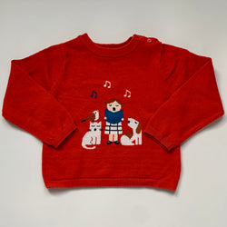 Jacadi Red Wool Mix Sweater With Singing Girl Motif: 36 Months
