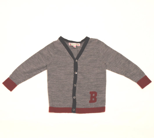 Bonpoint Grey Wool Cardigan With B Motif