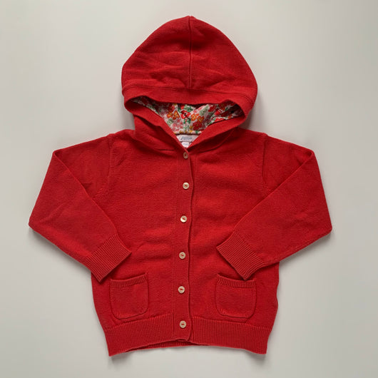 Jacadi Red Cotton Sweater With Liberty Print Hood: 23 Months