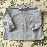 Bonpoint Blue And White Stripe Cotton Shirt With Pocket