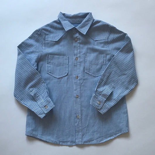 Bonpoint Blue And White Stripe Shirt: 4 Years