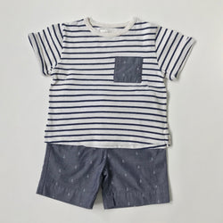 Marie-Chantal Blue And White Nautical Top And Shorts Set: 4 Years