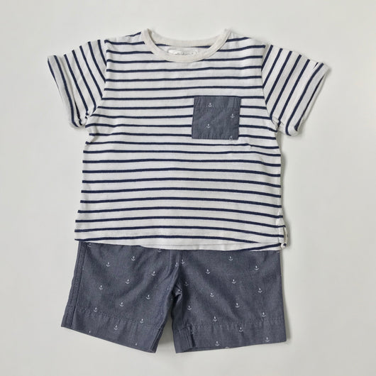 Marie-Chantal Blue And White Nautical Top And Shorts Set