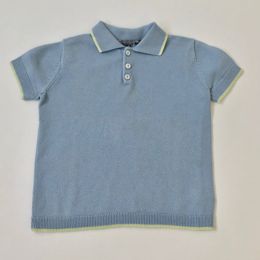 Bonpoint Blue Polo Shirt With Lime Trim: 3 Years