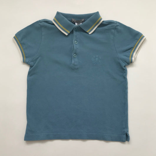 Bonpoint Teal Polo Shirt With Yellow And White Trim