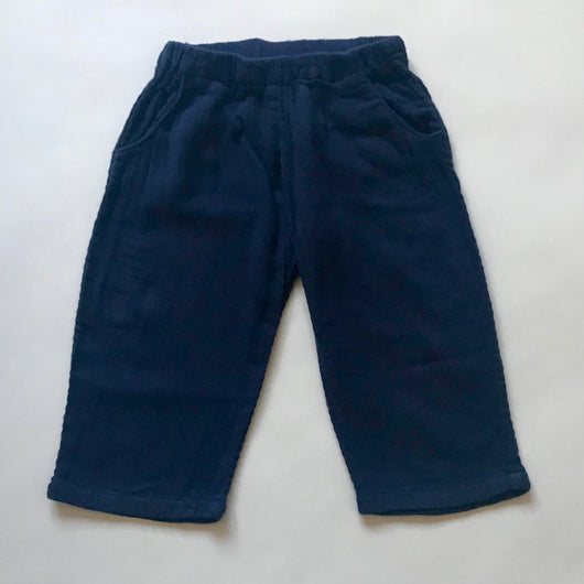 Bonpoint Navy Gauzy Cotton Trousers: 18 Months