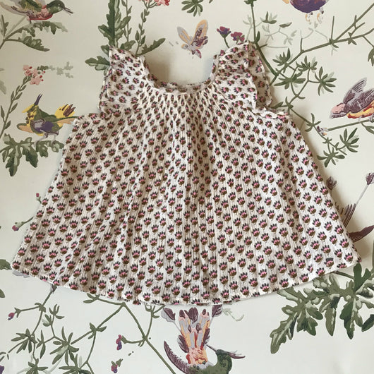 Bonpoint Liberty Print Gauzy Cotton Sleeveless Blouse With Smocking