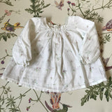Bonpoint White Long Sleeve Floral Print Blouse With Smocking: 6 Months