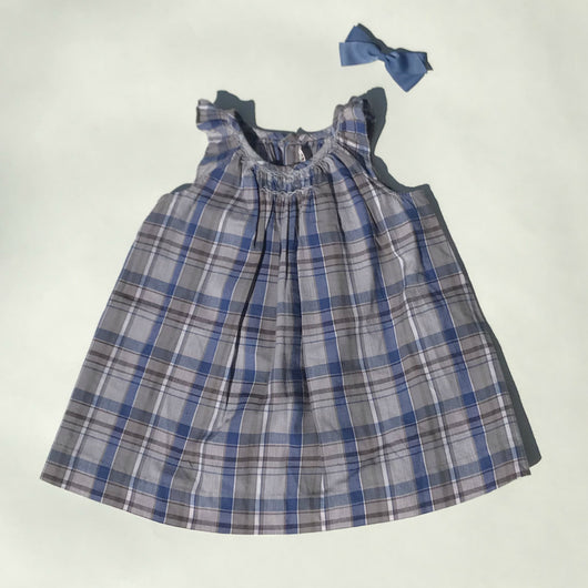 Bonpoint Blue Check Cotton Sundress With Smocking