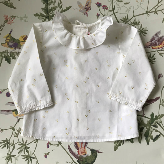 Bonpoint White Cotton Blouse With Gold Cherry Print And Frill Collar