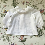 Bonpoint White Cotton Blouse With Pintuck Detailing And Lace Trim Collar: 6 & 18  Months