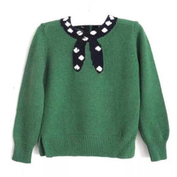 Bonpoint Wool/ Angora Mix Green Jumper With Trompe L'Oeil Tie