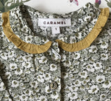 Caramel Liberty Print Baby Romper With Frilled Collar