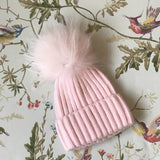 Miloves Cashmere Mix Hat With Fur Pom