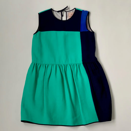 Roksanda Ilincic Green And Blue Geometric Silk Dress: 6 Years