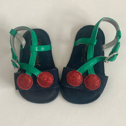 Bonpoint Navy Suede Baby Cherry Sandals: Size 16/17