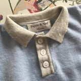 Poppy & Ned Baby Blue Merino Wool Jumper With Grey Trim: 6-12 Months