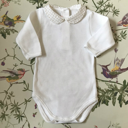 Bonpoint White Cotton Bodysuit With White And Gold Detail Collar