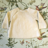 Bonpoint Cream Cashmere Ribbed Cross-Over Cardigan: 3 Months
