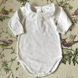 Bonpoint White Cotton Bodysuit With White Frill Collar: 6 Months
