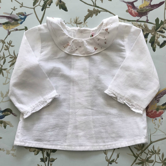 Bonpoint White Cotton Blouse With Hand-Embroidered Frill Collar