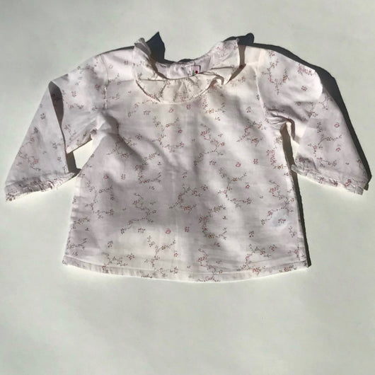Bonpoint Floral Cotton Blouse With Collar: 12 Months