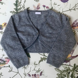 Il Gufo Grey Cropped Merino Wool/ Cashmere Mix Cardigan: 2 Years
