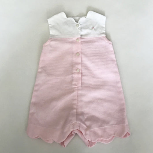 La Stupenderia Pale Pink And White Scalloped Romper: 6 Months