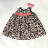 Bonpoint Liberty Print Hand Smocked Dress With Neon: 12 Months