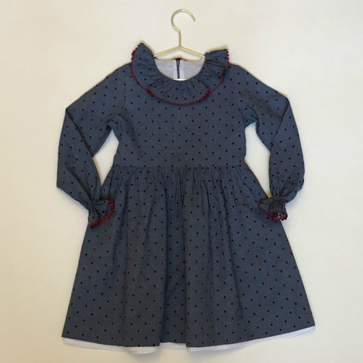 La Coqueta Blue And Red Polka Dot Dress With Frill Collar