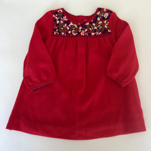 Bonpoint Red Wool Dress With Embroidery