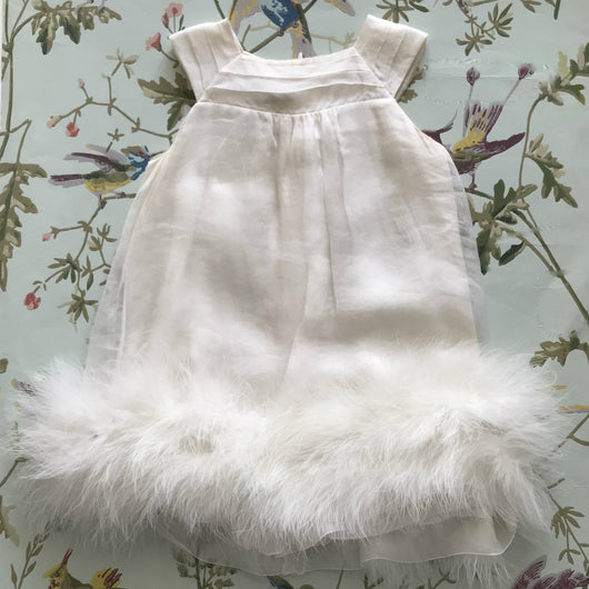 Baby Dior White Silk Party Dress With Marabou Trim