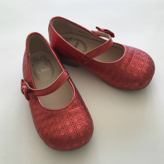 Baby Dior Red Mary-Jane Style Shoes