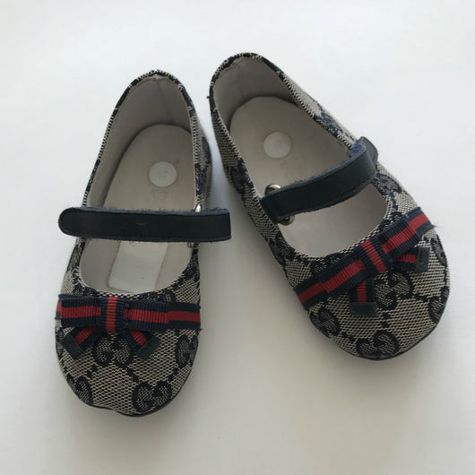 Gucci Monogram Baby Ballet Shoes With Ribbon Trim