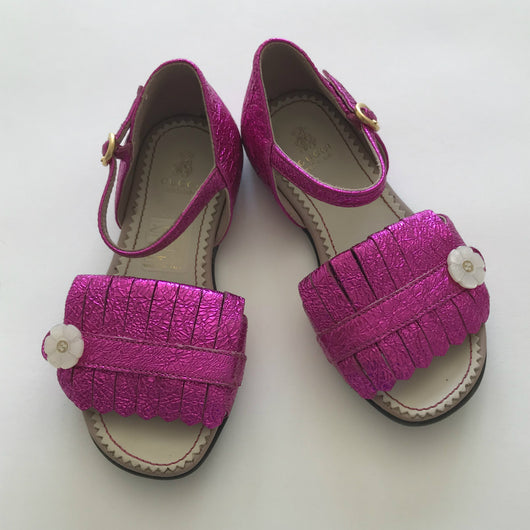 Gucci Fuchsia Fringed Sandals