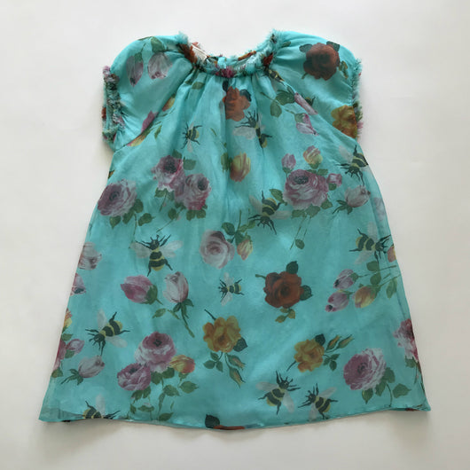 Gucci Turquoise Silk Floral Dress