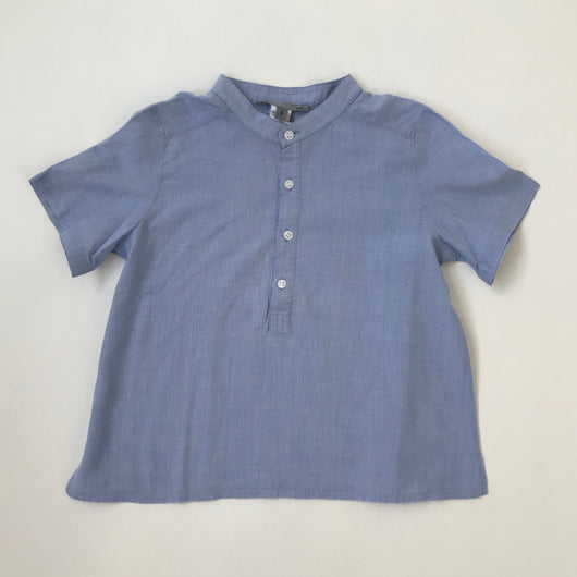 Bonpoint Blue Chambray Short Sleeve Collarless Shirt: 6 & 8 Years