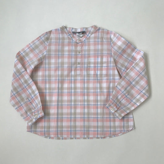Bonpoint Pink, Blue And White Collarless Shirt: 6 Years