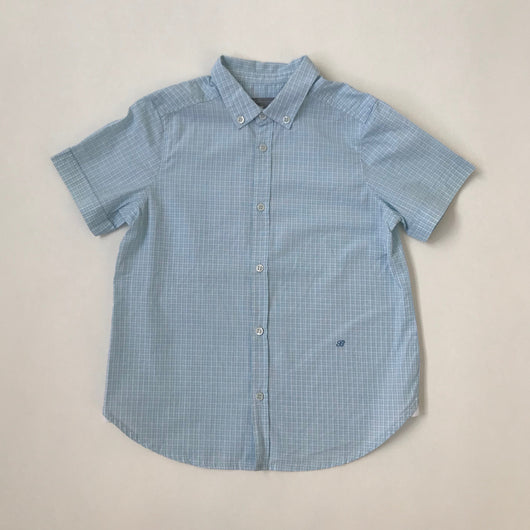 Bonpoint Blue And White Check Short Sleeve Shirt: 6 Years