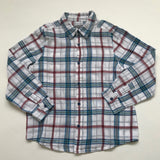 Bonpoint White, Maroon And Blue Check Cotton Shirt: 6 Years