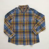 Bonpoint Blue And Yellow Check Cotton And Linen Mix Shirt: 6 Years