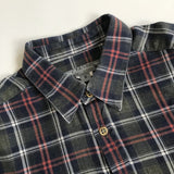 Bonpoint Dark Green, Navy and Red Brushed Cotton Check Shirt: 6 Years