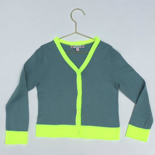 Bonpoint Teal Cotton Cardigan With Neon Trim