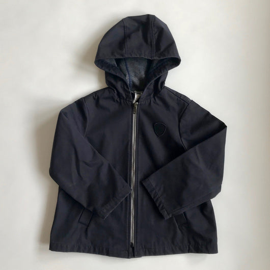 Bonpoint Navy Water Resistant Hooded Jacket With Navy Jersey Lining: 6 Years