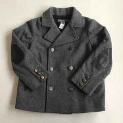 Bonpoint Grey Wool Pea Coat Blazer With Military Buttons: 6 Years