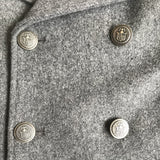 Bonpoint Grey Wool Pea Coat Blazer With Military Buttons