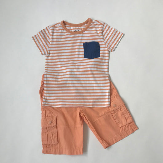 Marie-Chantal Orange And White Stripe Top And Shorts Set